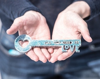 """Love key """"All you need is love""""  wooden key heart key wooden sign"""