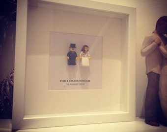 Lego Bride and Groom personalised wedding gift frame