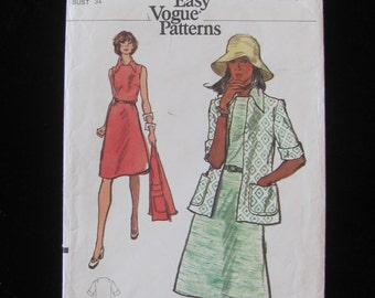 1970s Vogue 8505 Dress and Jacket Pattern Misses Size 12