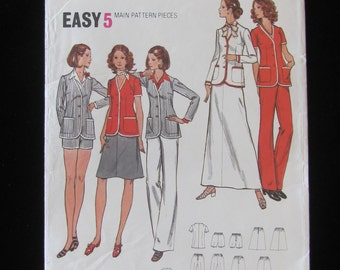 1970s Butterick 6621 Jacket Pants Shorts Skirt Separates Pattern Misses Size 12