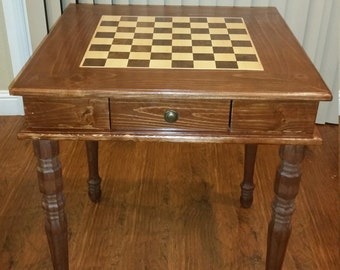 Handmade Chess Table with Chess Set