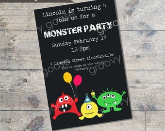 Cute Monster Party kids party invitation DIY Printable
