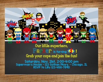 Superhero Invitation, Superhero Party, Superhero, Super Hero, Superheroes Invite, Printable Invitation, Invite,  Superheroes, FREE SHIPPING