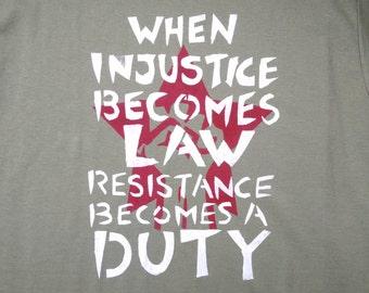 Resistance hand stencilled T-shirt