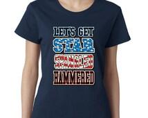 Lets Get Star Spangled Hammered Ladies Tshirt