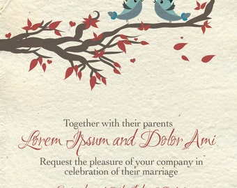 Cute Bird Wedding Invite Set - Print at Home!