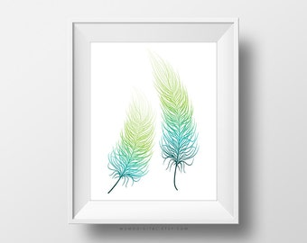 SALE -  Blue Green Ombre Feathers, Set Of Feathers, Blue Feather, Green Feather, Ombre Print, Ombre Art, Modern Print, Minimalism