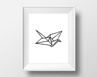 SALE -  Paper Crane, Handstamped, Handstamp, Paper Print, Crane Print, Origami Print, Origami Poster, Modern, Bird Print, Nature, Black