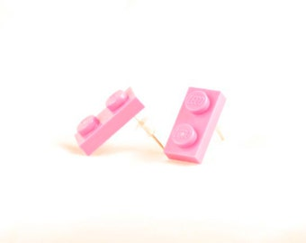 Pink Lego plate earrings ~ Geeky gift for Lego-lovers ~ Teen stocking stuffer ~ Tween birthday gift
