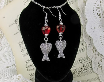 Earrings Jewelry Earrings Guardian Angel Red Heart Black Beads Achat