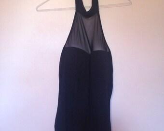 90s black mesh sweetheart halter bodysuit