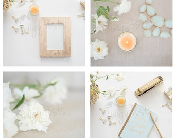 Desk Mockup with Gold Accessories for Instagram