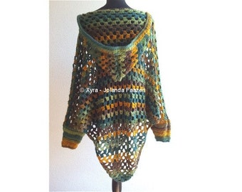 PATR1030 - Xyra Crochet-pattern - Poncho with sleeves and hood (English-US & Dutch)