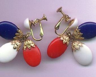 Vintage Napier Dangle Earrings - 1960's - Patriotic