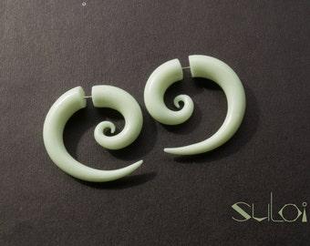 Fake gauge earrings. Glow in the dark spiral earrings spiral fake gauges