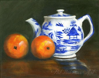 "Still Life Painting, ""Orange Tea"", Giclee Print, Traditional art, blue willow, original art, small painting,English Tea Post"