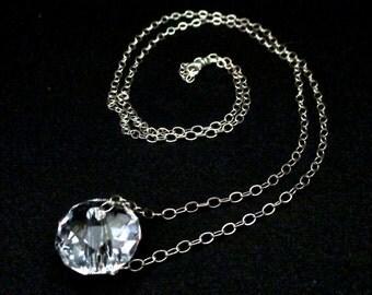 Minimalistic Swarovski Crystal Pendant On A Sterling Silver Chain