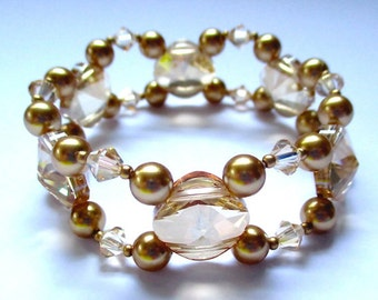 The ULTIMATE SPARKLING Varied Swarovski Crystals And Pearls Double Strand Bracelet