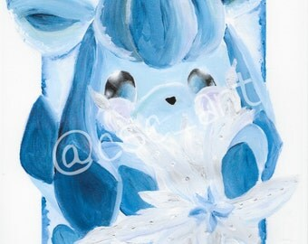 "Glaceon's First Snowflake - 9x12"" PRINTS"