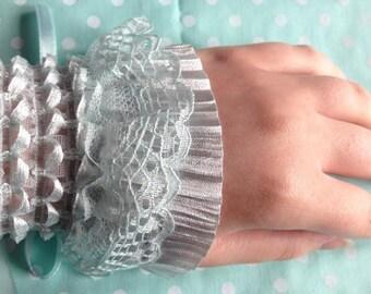 Light Blue/Mint Lace Lolita Wrist Cuffs (Pair)