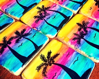 One Dozen - Sunset Beach Cookies - Beach Wedding - Vacation - Party Favors - Ocean Cookie - Palm Tree