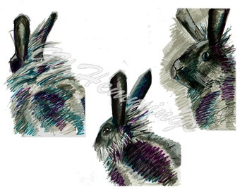Rabbit postcards by GV Hemmings in sets of 5