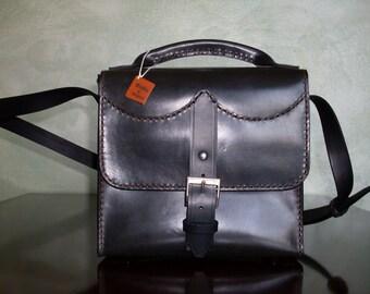Men's leather bag, black leather purse, male bag, bag with handle, shoulder bag, leather goods