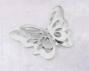 5 x Stainless Steel Double Layered Butterfly Charms / Connectors / Embellishment