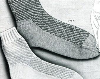 1950's Tweed Design Knitted Anklet Socks Sized for Women & Men  PDF Pattern Instant Download