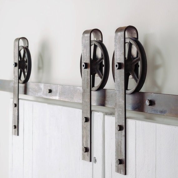Vintage industrial spoked sliding barn double door hardware for Barn door rollers lowes