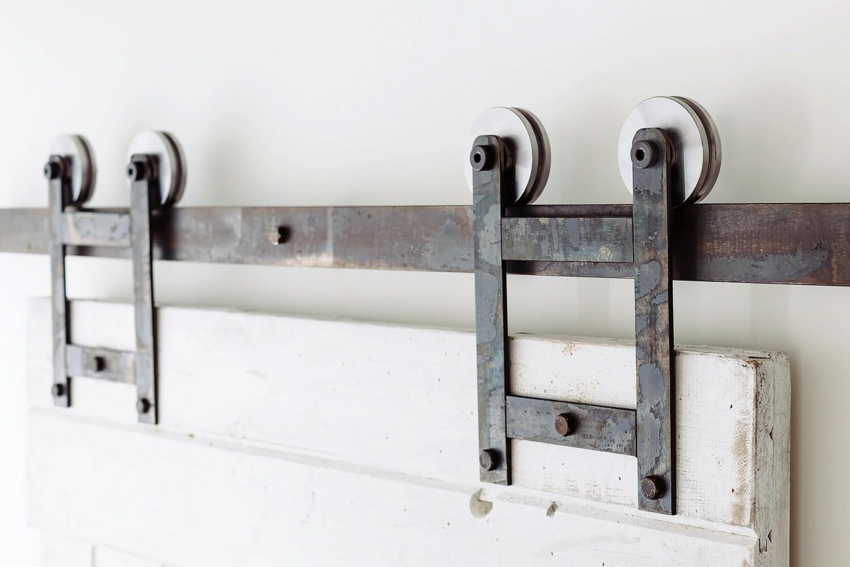 classic h bracket industrial sliding barn door hardware from whiteshanty on etsy studio. Black Bedroom Furniture Sets. Home Design Ideas
