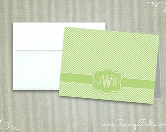 10 Personalized herringbone notecards, thank you notes, folded, blank, stationery, letterhead