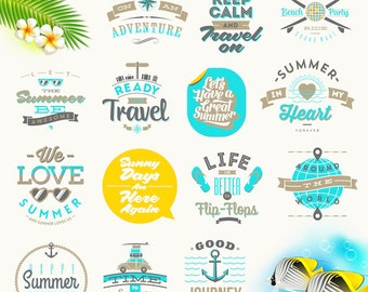 Set of travel and summer vacation Quote Clipart, Digital Download ,Quotes Scrapbooking, Supplies, Vectors files ,Personal Use