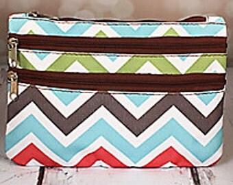 3 zipper multi chevron colored zipper pouch
