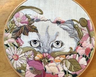 Handmade crewel work hoop art