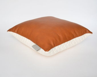 Designer KumoTawny Leather & Stitched Febrik Fabric Scatter Cushion Pillow Cover