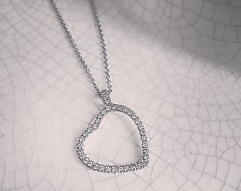 Tilted Heart Diamond Pendant