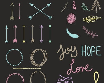 FLORAL & ARROWS CLIPARTS | printables | color