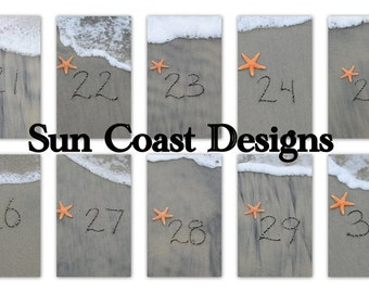 Beach Theme Table Numbers 1 - 30 for wedding or party- Sand Writing