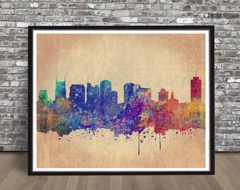 Vintage Nashville skyline watercolor skyline watercolour Tennessee painting skyline Nashville city skyline print rainbow cityscape,TN state