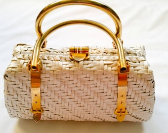 Elegant Vintage White and Gold Handled Riches Purse