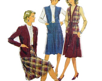 1981 Style 3494 Misses' and Women's Lined Jacket or Sleeveless Jacket and Bias Skirt Sewing Pattern Size 14