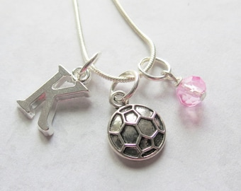 Soccer Necklace, Soccer Charm Necklace, Silver Soccer Ball, Soccer Pendant, Birthstone, Initial Charm, Personalized, Team Gift, Birthday