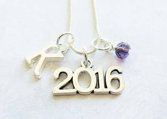 class of 2016 necklace 2016 charm necklace by adorablycharming. Black Bedroom Furniture Sets. Home Design Ideas