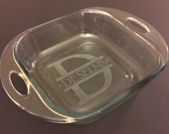 Monogram Etched Glass Baking Dish - 2 sizes available