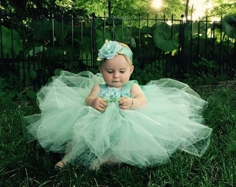 Mint Flower Girl Dress Mint Tulle Flowergirl Gown Fairytale Tutus Christening Gown Baby Blessing Dress First Birthday Tutu 1st Bday Outfit