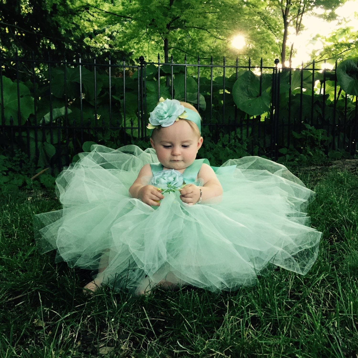 Flower Girl Dress Tutu Mint Green Tutu by FairytaleTutusDesign