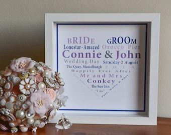 Personalised Wedding Anniversary Engagement Memory Print