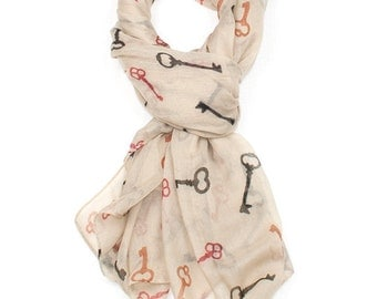 Cream Key Print Scarf