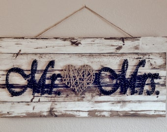 Mr. & Mrs. Sign, nail wall art on painted and distressed wood
